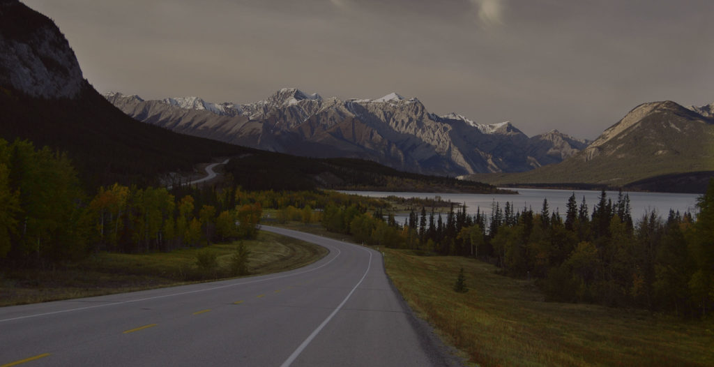 Scenic mountains with a highway